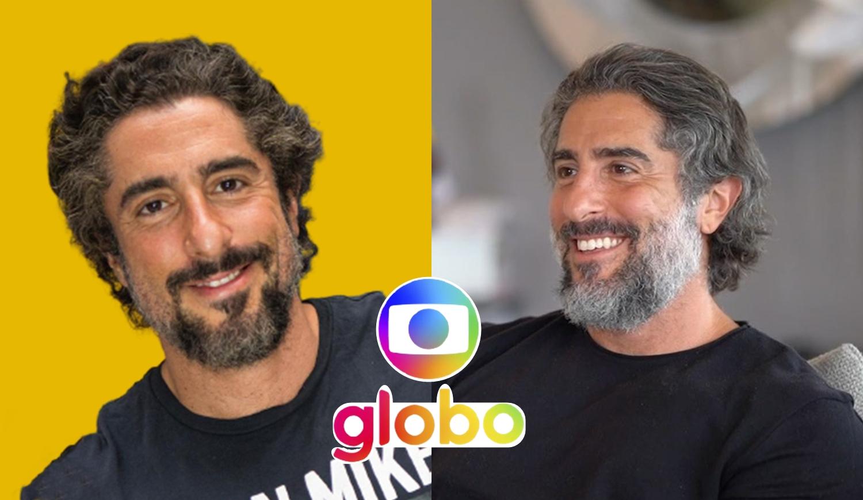 Fotos de Marcos Mion e logo da TV Globo.