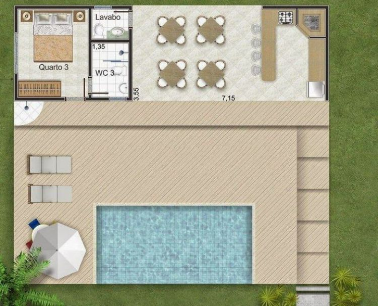 Deck com piscina.