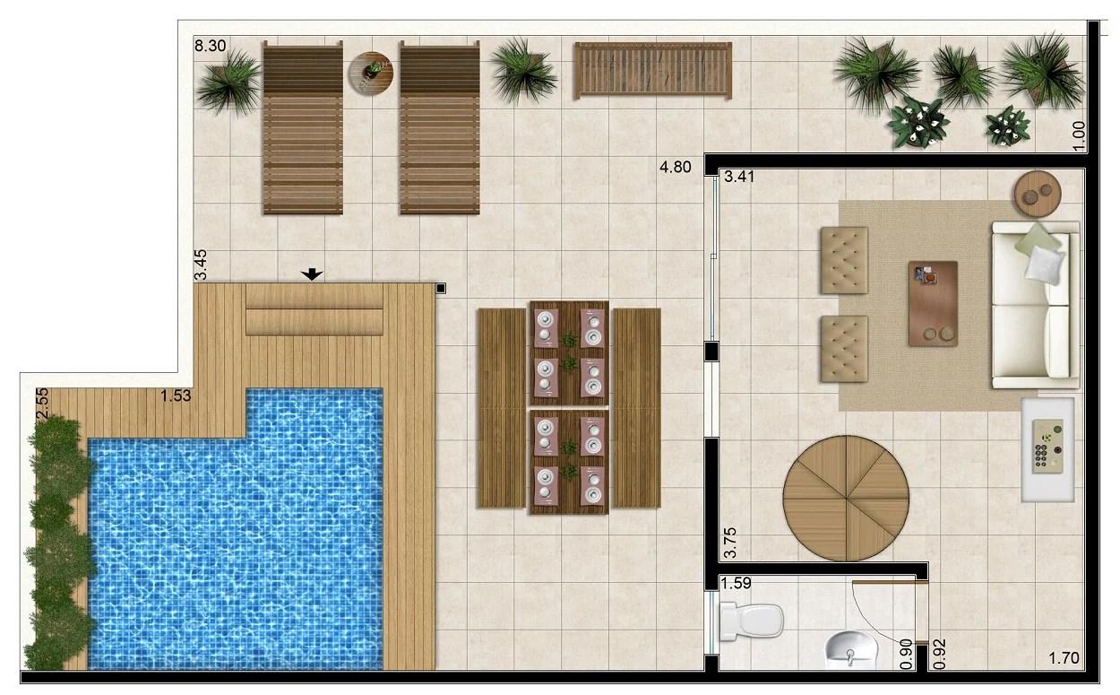Planta baixa de área de lazer com piscina.