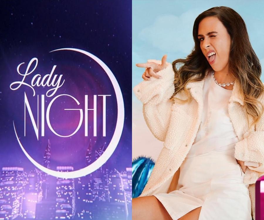 "Foto da humorista e da logo do ""Lady Night"""
