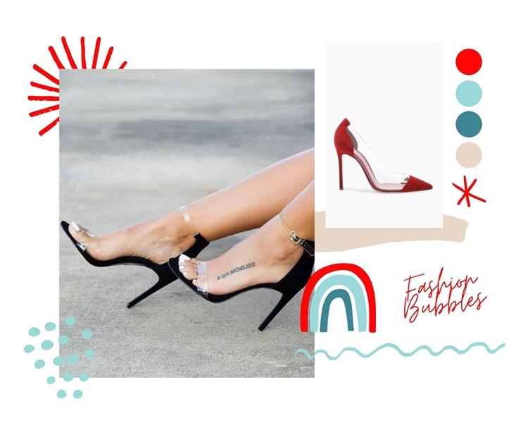 Foto de sandálias com silicone, tendências dos anos 90 in voga em 2021.