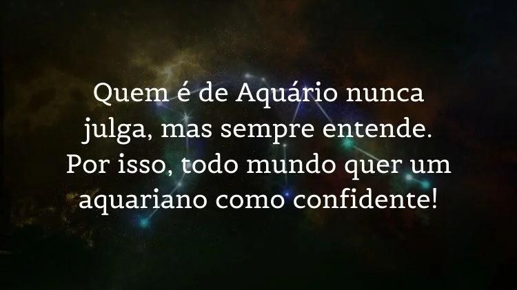 Mensagem sobre aquarianos em foto de céu estrelado