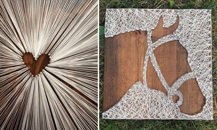 Montagem com duas fotos de string art reverso