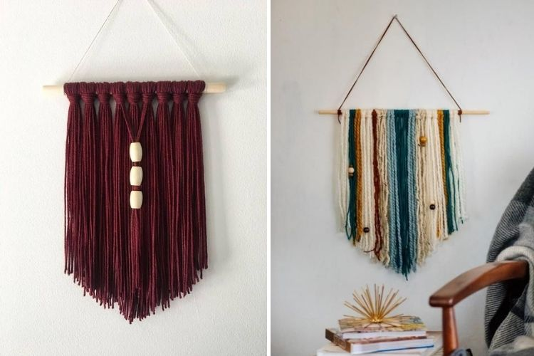 Montagem com duas fotos de painel simples de parede em artesanato com barbante