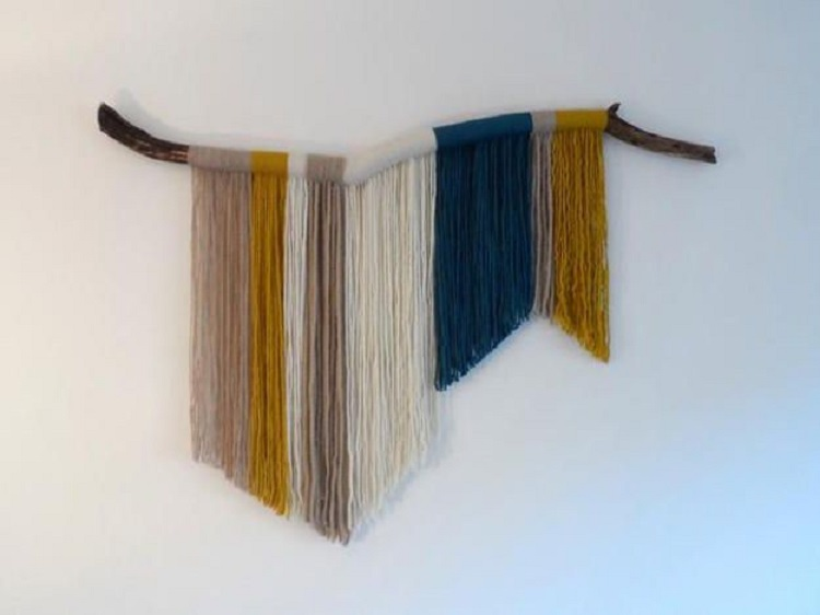 Foto de painel simples de parede em artesanato com barbante macramê