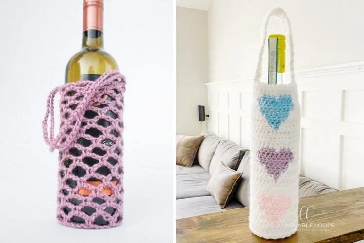 Montagem com duas fotos de porta-vinhos