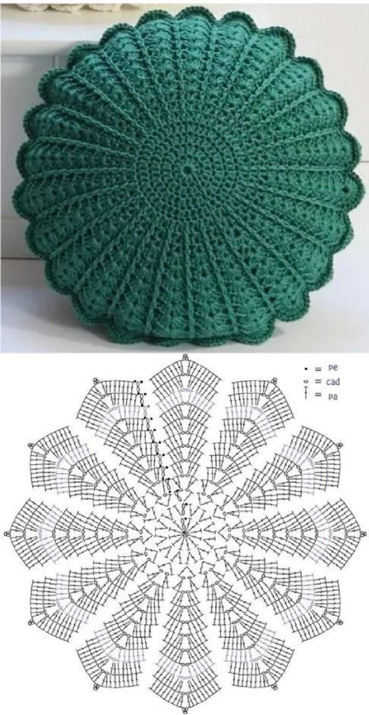 Foto de capa de almofada feita em artesanato com barbante turquesa