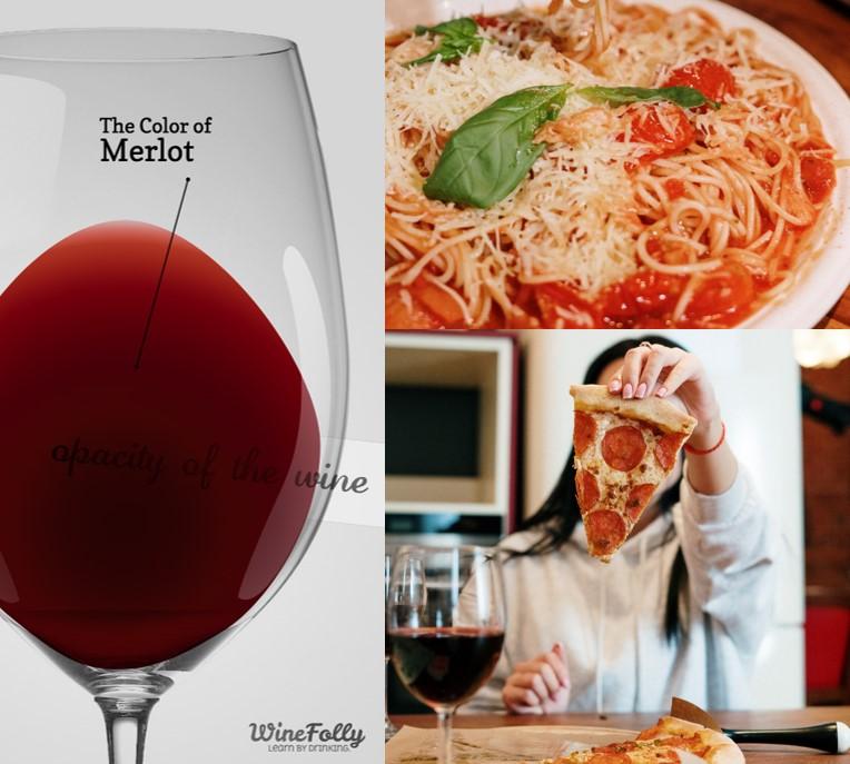 Imagem de uma taça com vinho Merlot , um prato de espaguete e uma menina segurando um pedaço de pizza peperoni