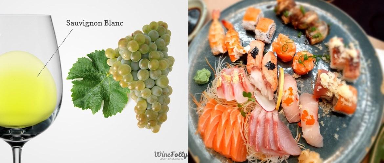 Taça de vinho branco e cacho da uva sauvignon blanc com um prato de sushi e sashimi como sugestão de harmonização