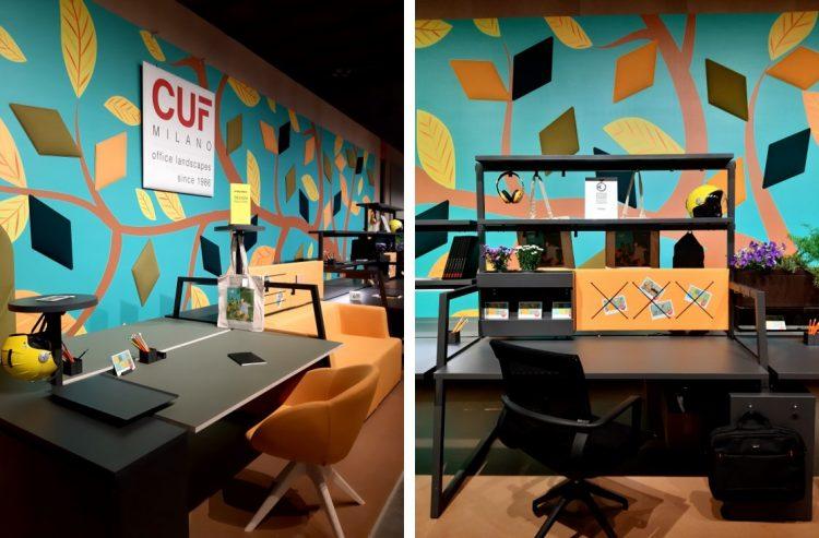 Imagem de estações de trabalho , para empresas ou home office em tons vibrantes de laranja e amarelo com espaços funcionais.