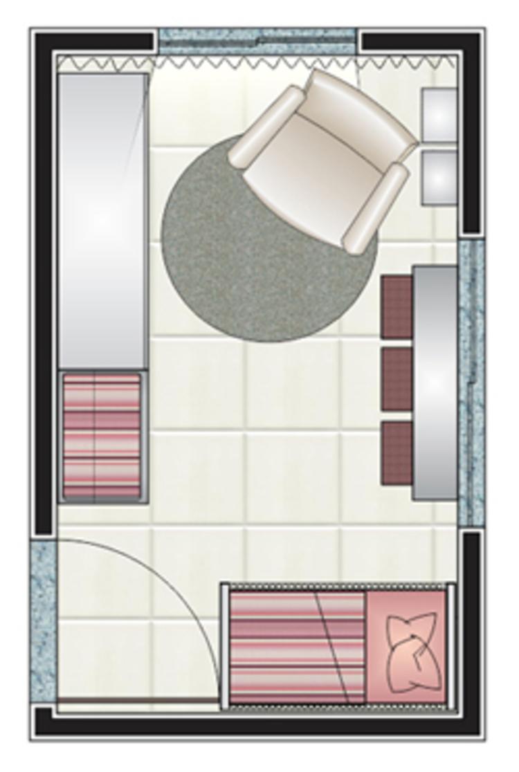 Planta de quarto de bebê com poucos móveis