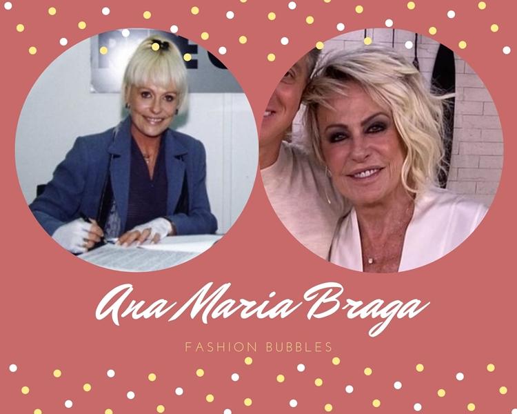 Foto de Ana Maria Braga, uma das apresentadoras brasileiras, quando nova e atualmente.