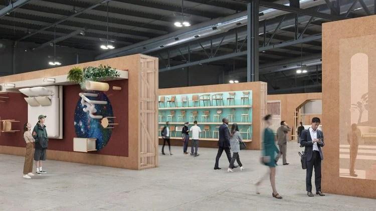 Imagem do pavilão de exposição da feira de móveis de Milão com os painéis em madeira reclicada projeto de Andrea Caputo para o Salone del Mobile 2021