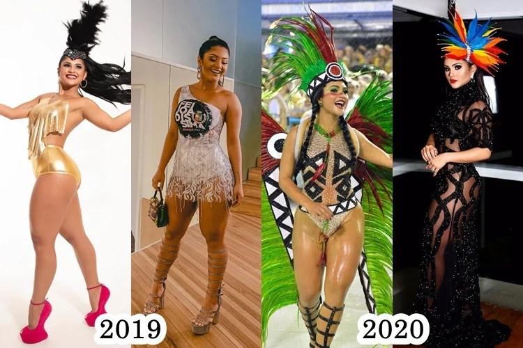 Foto de Mileide Mihaile nos carnavais de 2019 e 2020.