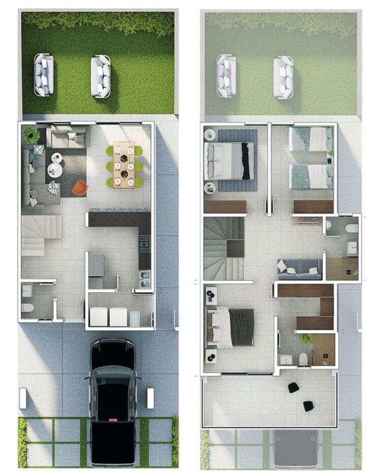 Casa com três quartos.