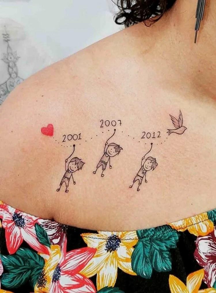 Tatuagem com data para 3 filhos