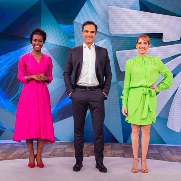 Foto de Maju Coutinho, Tadeu Schmidt e Poliana Abritta.