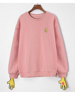 Weightlifting Fairy Kim Bok Joo Pink Bart Simpson sweater