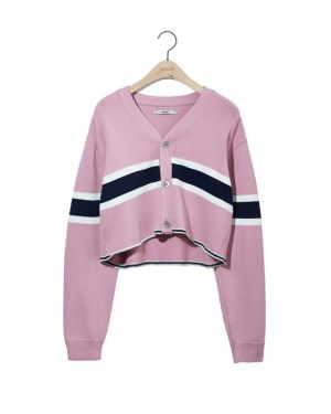 Pink Croped Cardigan Choi Mika – About Time Black and White Stripes