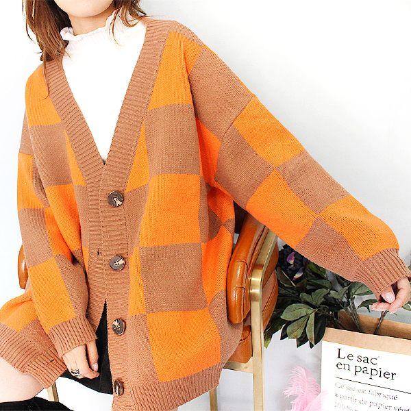 Orange Oversized Cardigan | Lee Sung Kyung