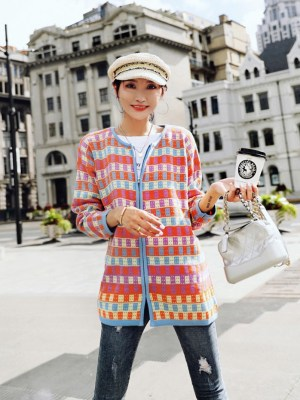 Hyuna Multicolored Checkered Cardigan (3)