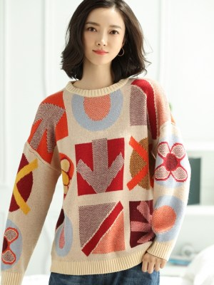 Jennie Patterned Wool Sweater (1)