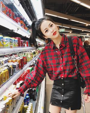 Red Checkered Blouse Memories of the Alhambra -min