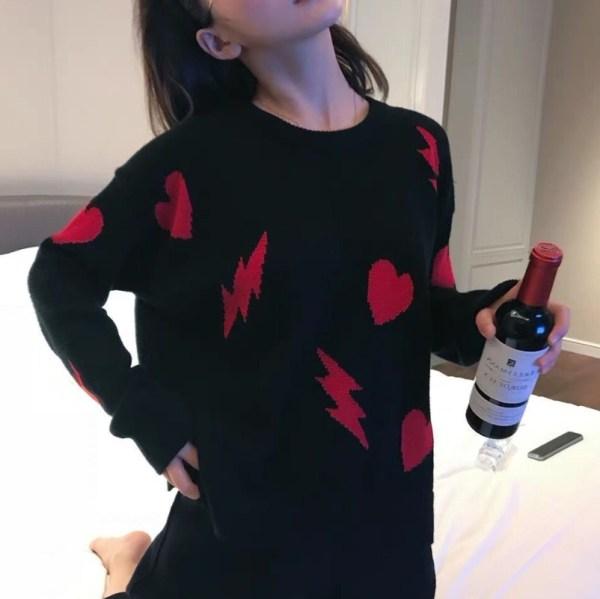 Comfy Heart Bolt Pullover   Seulgi – Red Velvet