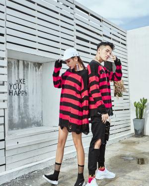 Jungkook Ripped Red Blaxk Striped Sweater (10)