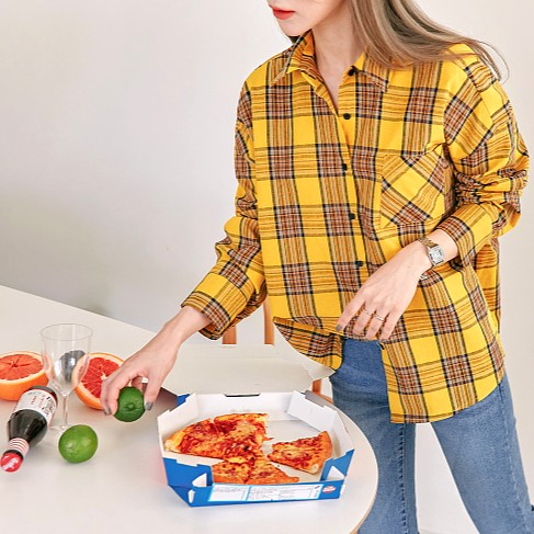 Yellow Checkered Shirt With One Bag   Kang Mi Rae – My ID is Gangnam Beauty