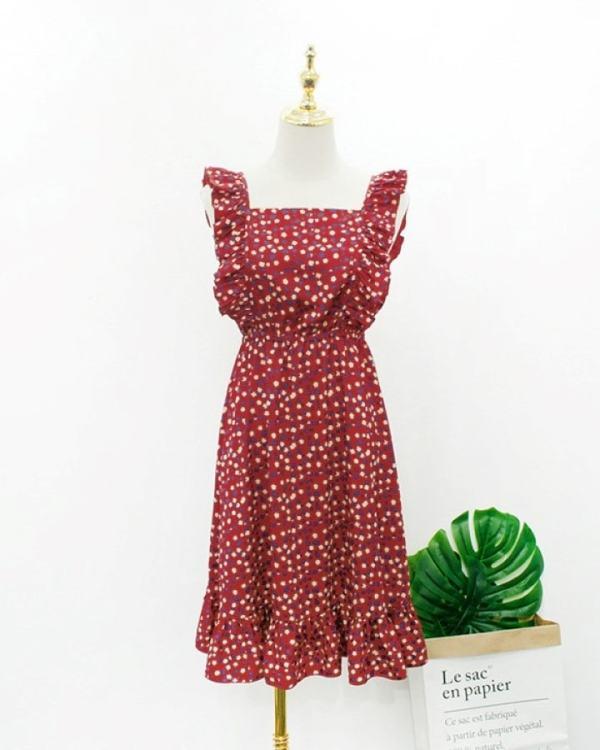 Red Floral Ruffles Dress | Hyuna