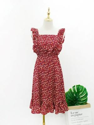 Hyuna Red Floral Ruffles Dress (2)