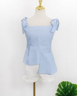 Jennie Blue Striped Blue Shoulder Tie Top (4)