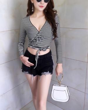 Jennie Striped Crop Lace Top (3)
