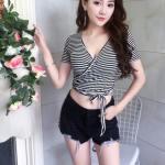 Striped Crop Lace Top | Jennie – BlackPink