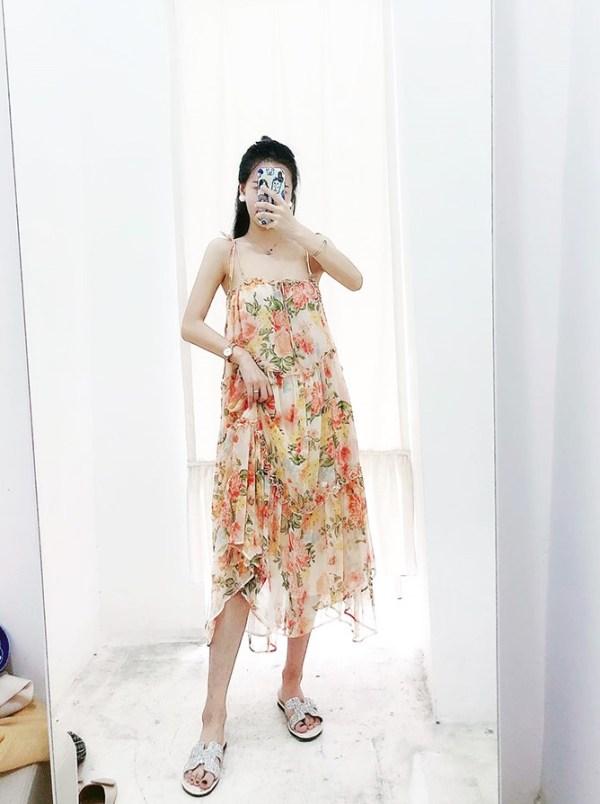Flowy Floral Sling Long Dress | Dahyun – Twice