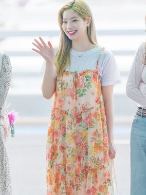 Flowy Floral Sling Long Dress | Dahyun – Twice