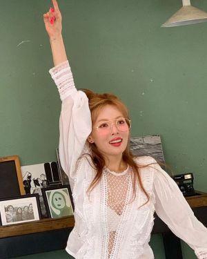 Deep V-Neck Mesh Lace Blouse | Hyuna