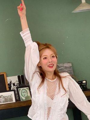 Deep V-Neck Mesh Lace Blouse   Hyuna