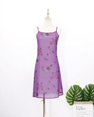 Hyuna Floral Purple Strap Sleeveless Dress (2)