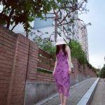 Floral Purple Strap Sleeveless Dress | Hyuna