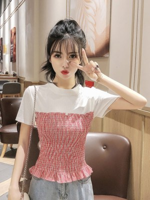 Jennie White & Red Plaid Slim Fit Top (9)