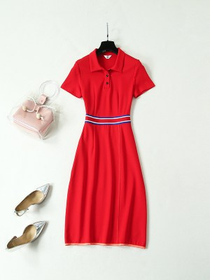 Joy & Hani Red Knit Long Dress (2)