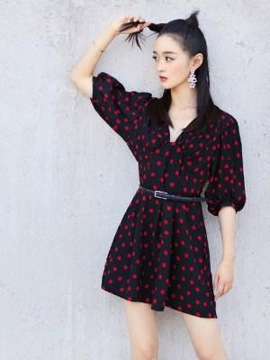 Lisa V-Neck Red Polka Dots Dress (15)