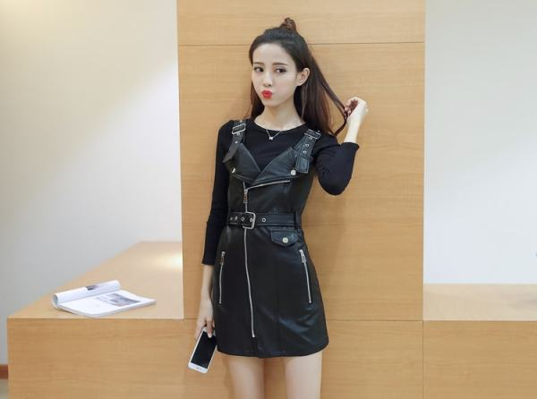 Black Leather Strap Dress | Rose – BlackPink