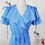 Blue Dotted Assymetric Wrap Dress | Rose – BlackPink