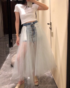 Rose Denim Tulle Skirt (1)