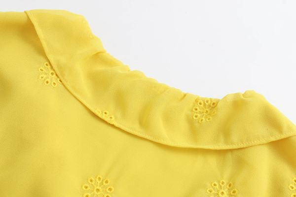 Yellow Openwork Embroidery Blouse   Sana – Twice