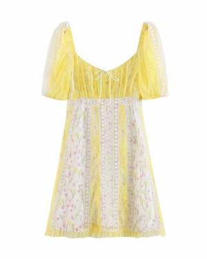 Wendy Yellow Foral Lace Dress (2)