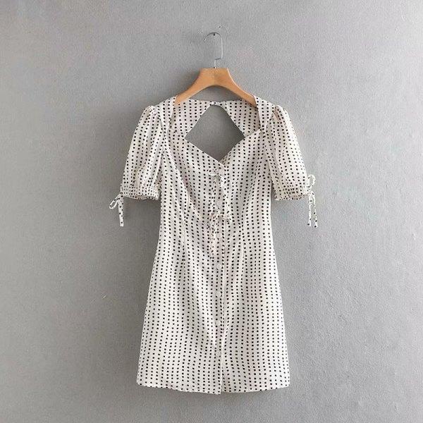 Black Squared Dot Prints Dress | Yeri – Red Velvet